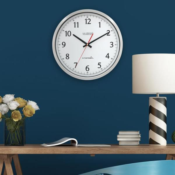 14 in. UltrAtomic Stainless Steel Analog Wall Clock with Plastic Lens