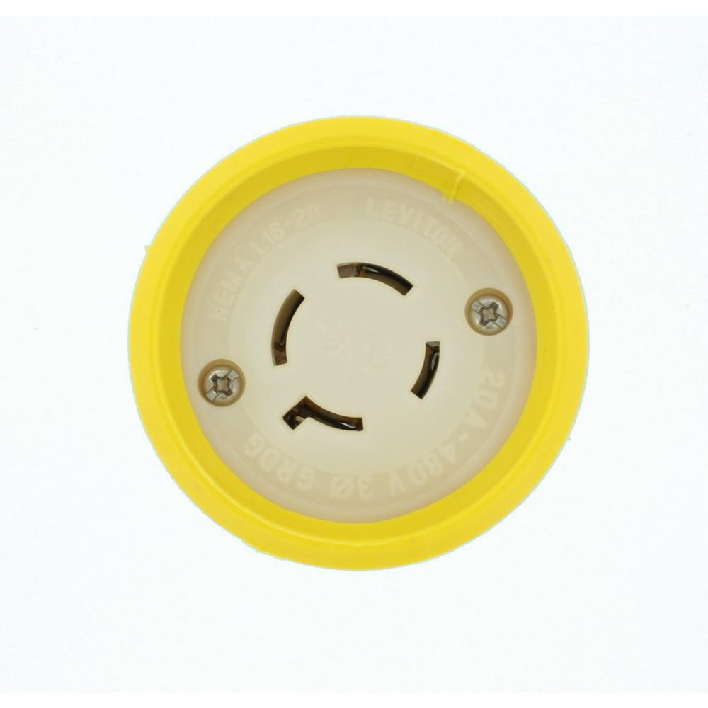 20 Amp 480-Volt 3-Phase Wetguard Locking Grounding Connector, Yellow