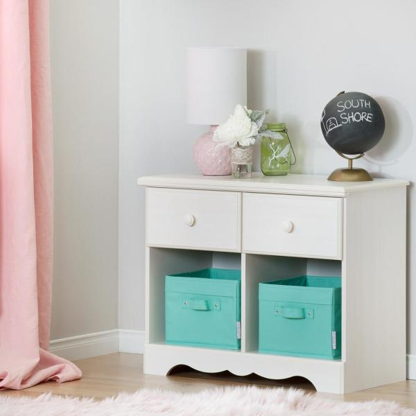 South Shore Summer Breeze 2-Drawer White Wash Nightstand