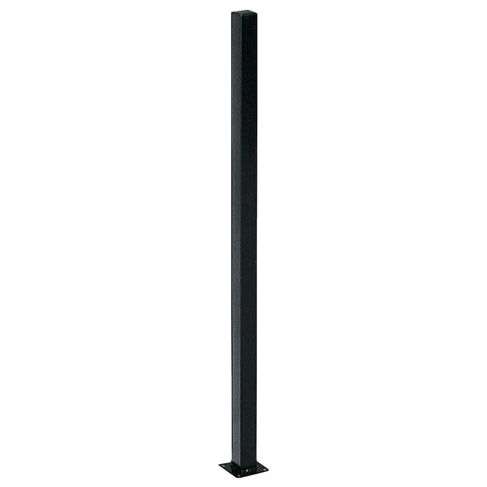 First Alert 2 in. x 2 in. x 4 ft. Black Steel Fence Post with Flange