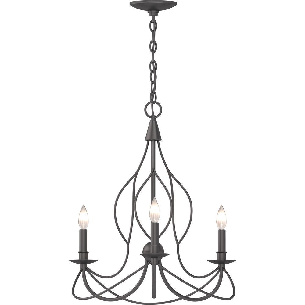 3-Light Indoor Antique Bronze Sculptural Candle-Style Hanging Chandelier with Candelabra