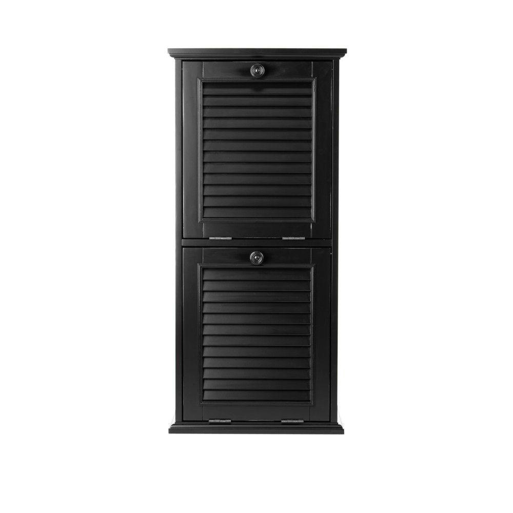 Home Decorators Collection Shutter 22 gal. Worn Black Wood Recycle Bin