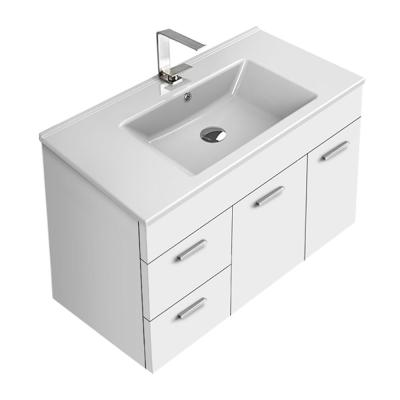 Loren 33 in. W x 17.5 in. D x 21.8 in. H Bathroom Vanity in Glossy White with Ceramic Vanity Top and Basin in White