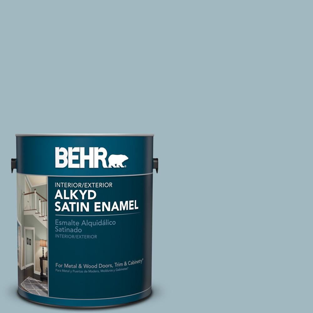 1 gal. #BIC-23 Hopeful Blue Satin Enamel Alkyd Interior/Exterior Paint