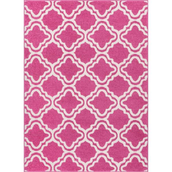 StarBright Calipso Pink 8 ft. x 11 ft. Kids Area Rug