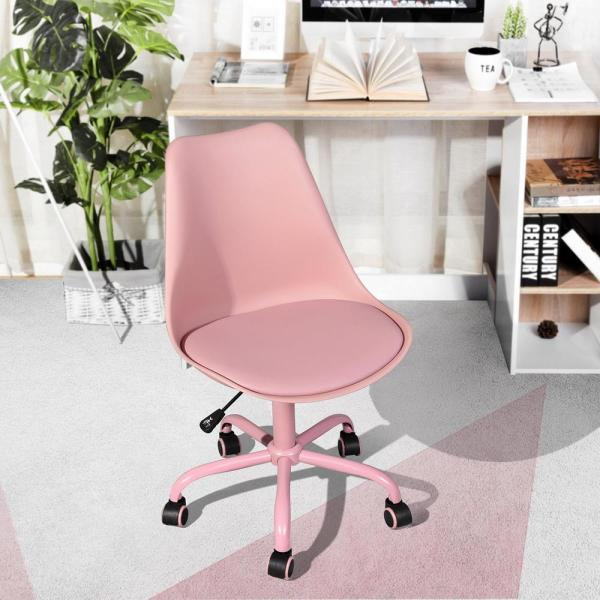Unbranded Blokhus Pink Pu Cushion Ergonomic Office Desk Chair Blokhus Pink The Home Depot