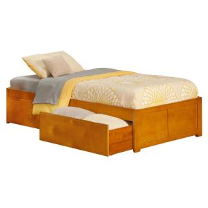 Atlantic Furniture Concord Caramel Twin Platform Bed With Flat Panel Foot Board And 2