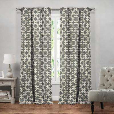 Kristin 37 in. x 84 in. L Polyester Blackout Curtain Panel in Grey (2-Pack)