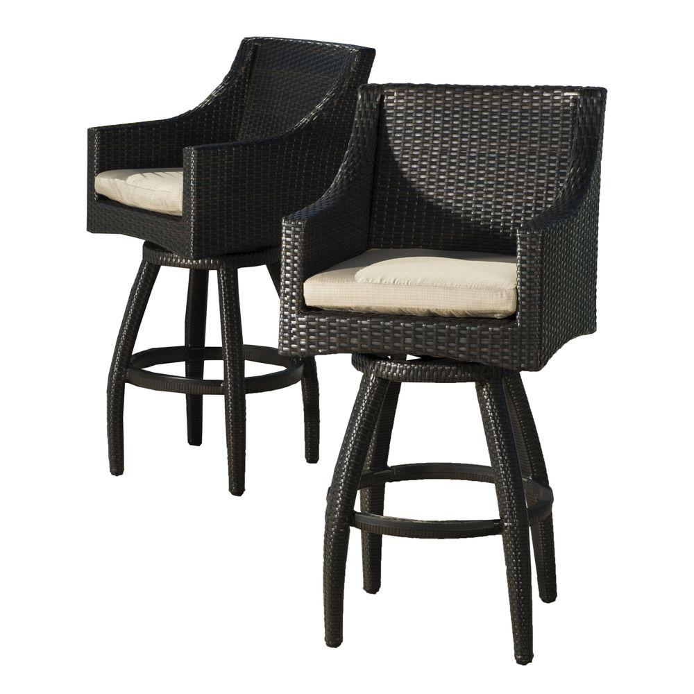 RST Brands Deco All-Weather Wicker Motion Patio Bar Stool with ...