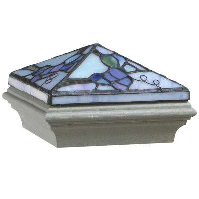 5 in. x 5 in. Composite Tiffany-Style Grapevine Post Cap with Gray Base