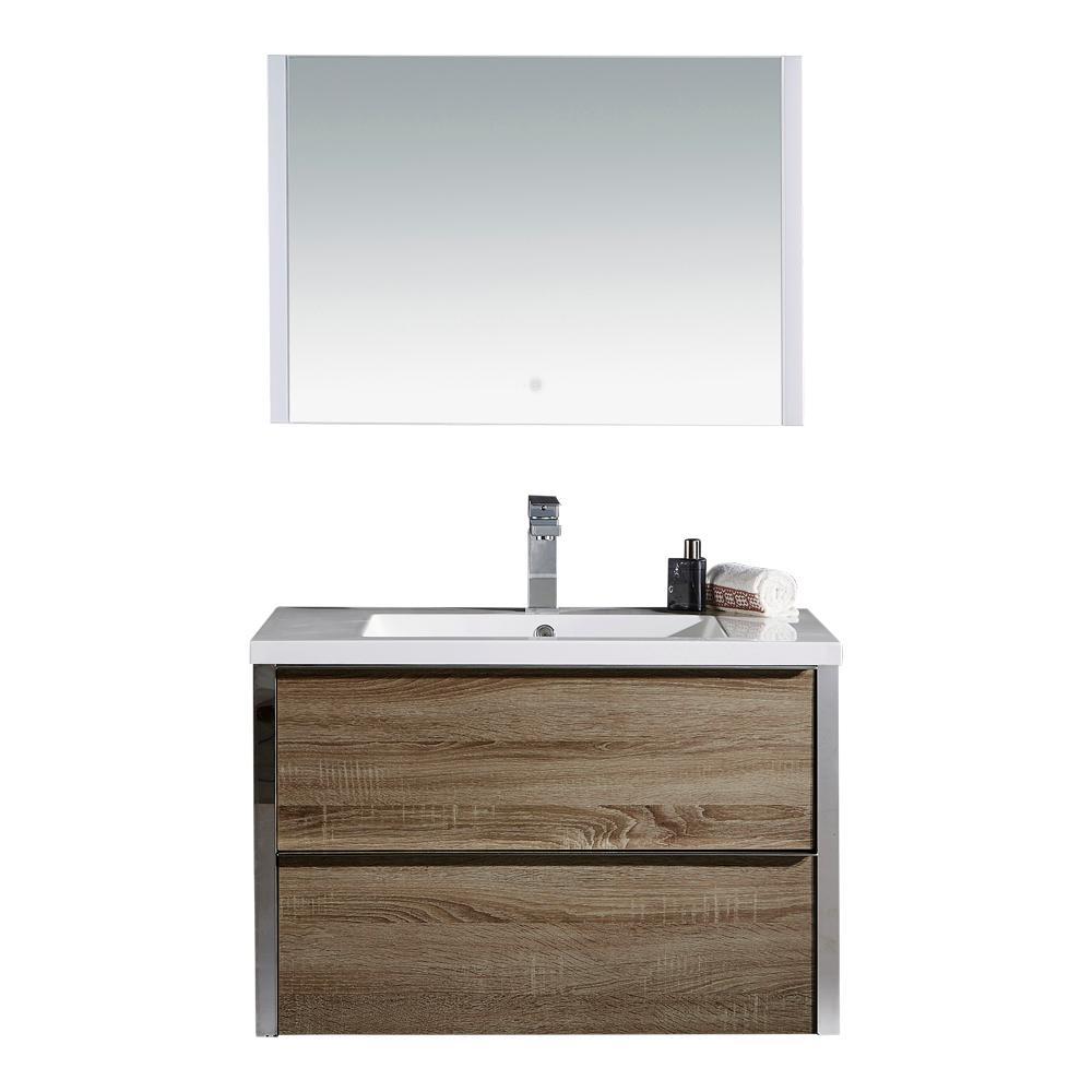 Theo Vanity Brown Resin Vanity Top White Basin Mirror