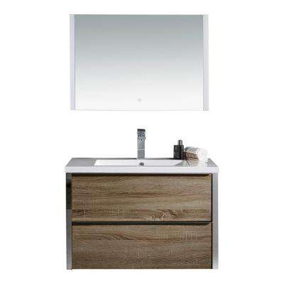 LED Theo 32 in. W Vanity in Brown with Resin Vanity Top in White with White Basin and LED Mirror