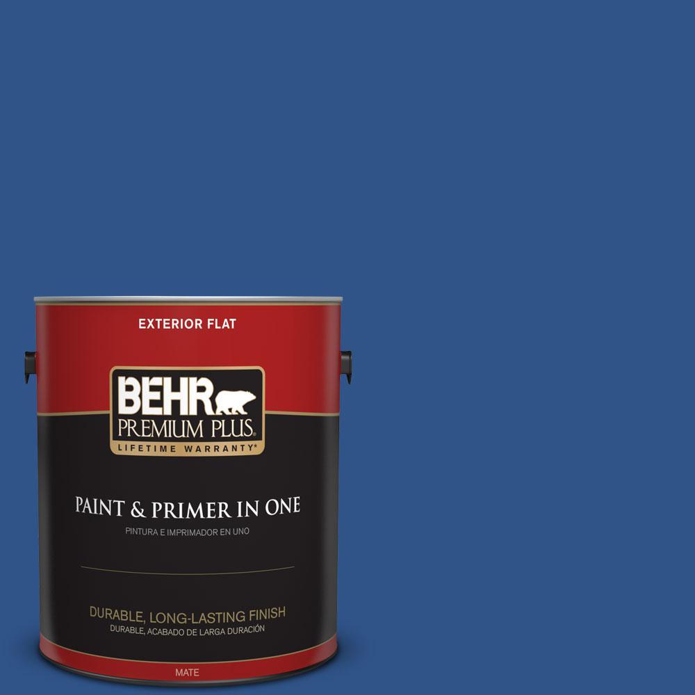 BEHR Premium Plus 1-gal. #S-G-590 Southern Blue Flat Exterior Paint