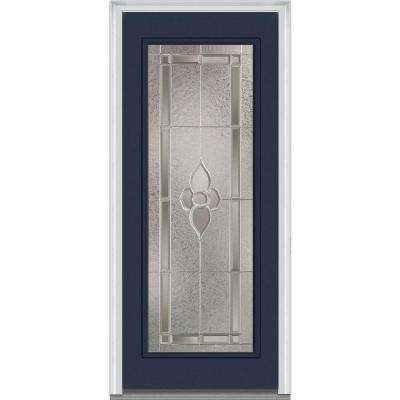 32 in. x 80 in. Master Nouveau Right-Hand Inswing Full Lite Decorative Painted Fiberglass Smooth Prehung Front Door