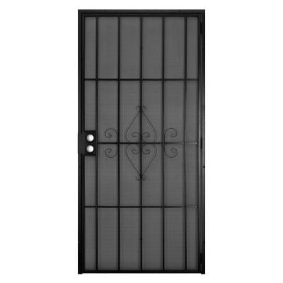 30 in. x 80 in. Su Casa Black Surface Mount Outswing Steel Security Door with Expanded Metal Screen