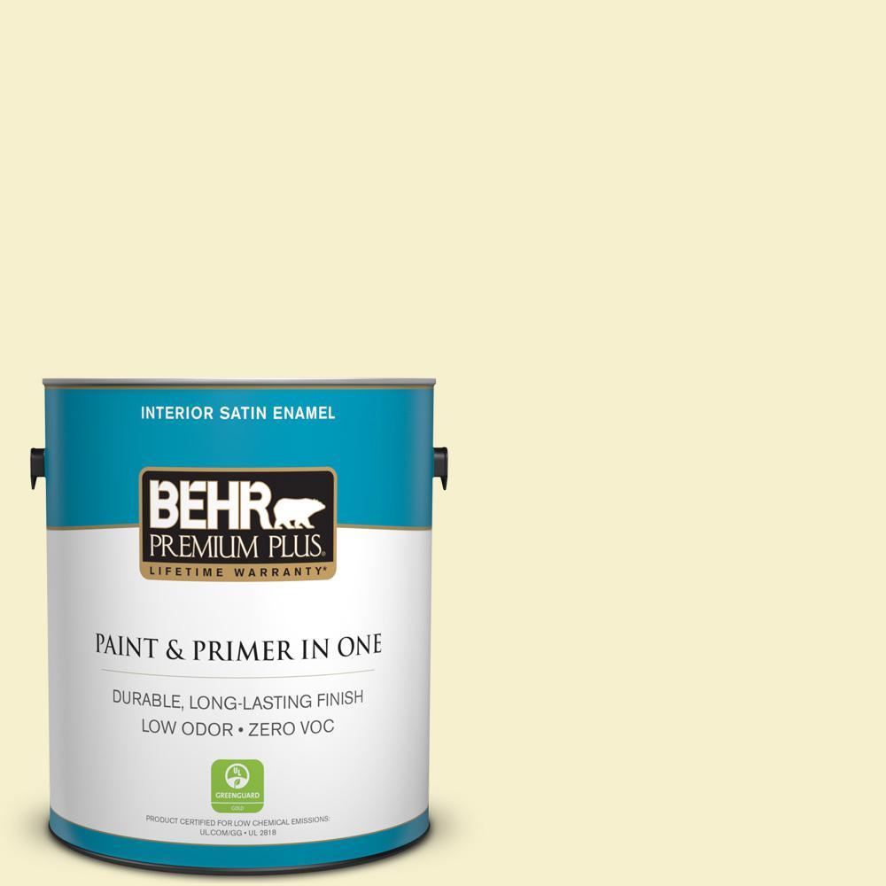 BEHR Premium Plus 1-gal. #380C-2 Desert Lily Zero VOC Satin Enamel Interior Paint