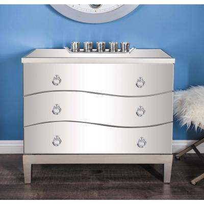 34 in. x 32 in. White Wood and Mirror Cabinet
