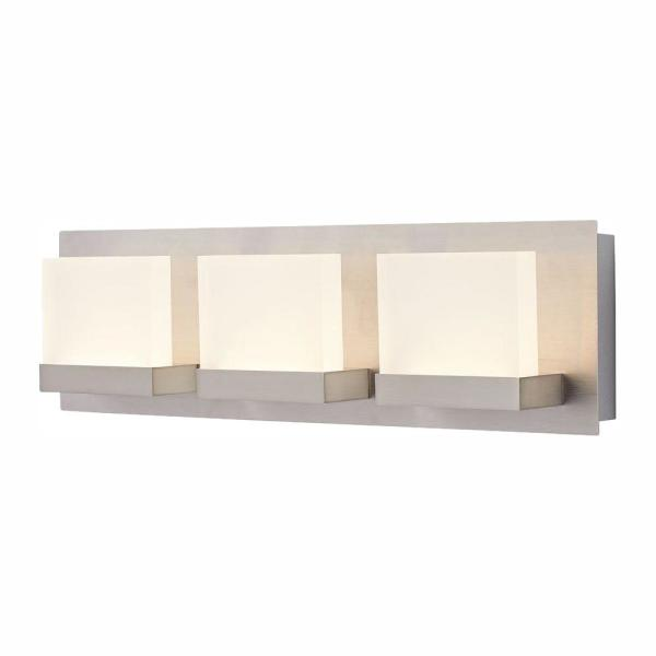 Alberson Collection 3-Light Brushed Nickel LED Vanity Light with Frosted Acrylic Shade