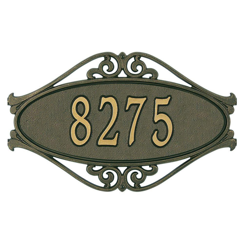 Hackley Fretwork Oval Bronze/Gold Standard Wall One Line Address Plaque
