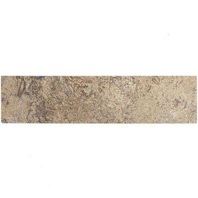Brushed Wild Travertine 2 in. x 8 in. x 8 mm Marble Mosaic Tile