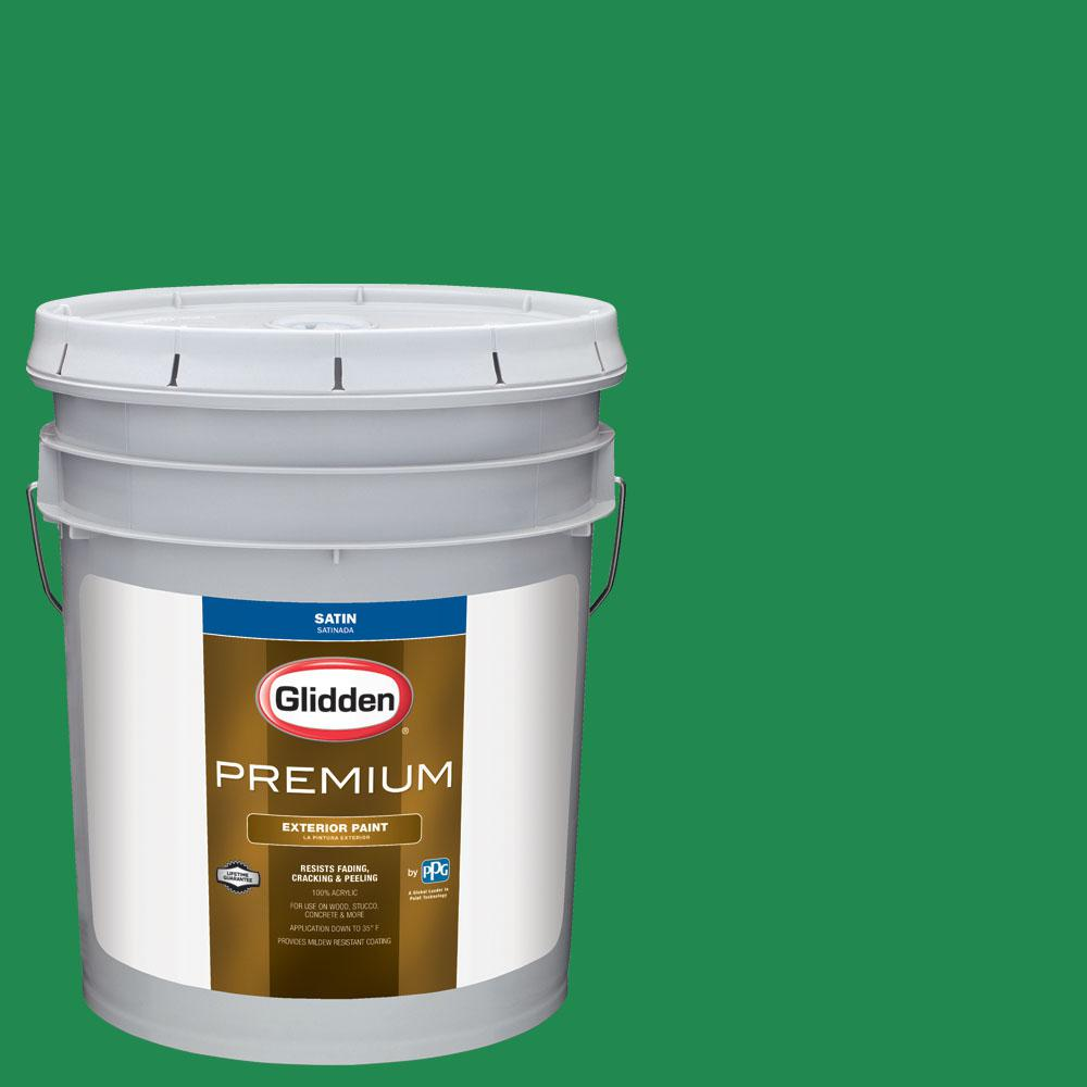 Glidden Premium 5 gal. #nhl-029F Vancouver Canucks Green Satin Exterior Paint