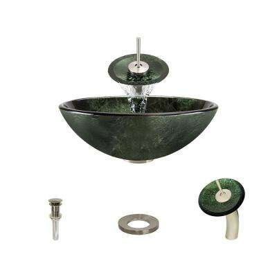 Glass Vessel Sink in Forest Green with Waterfall Faucet and Pop-Up Drain in Brushed Nickel