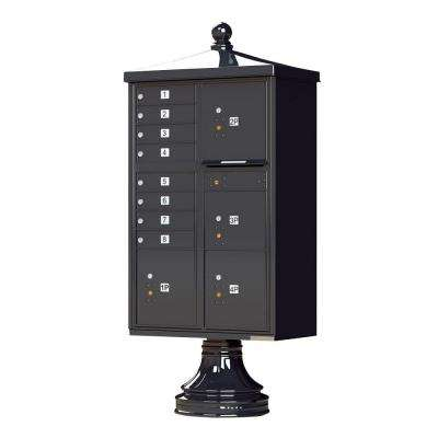 1570 Series 8 Mailboxes, 1 Outgoing, 4 Parcel Lockers, Vital Cluster Box Unit with Vogue Traditional Accessories
