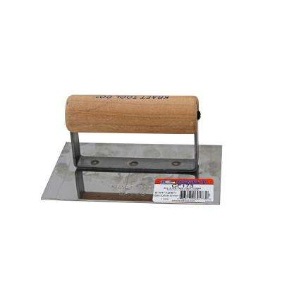 6 in. x 4 in. Stainless Steel Cement Edger with 3/8 in. Radius with Wood Handle