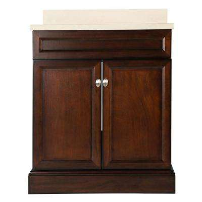 Teagen 31 in. W Bath Vanity in Dark Espresso with Engineered Stone Vanity Top in Beige