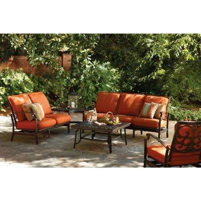 Messina 4-Piece Patio Sectional Seating Set with Paprika Cushions