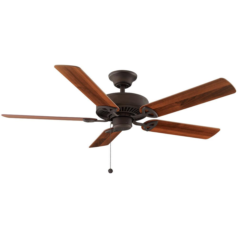 Flush mount ceiling fans lighting the home depot indoor oil rubbed bronze ceiling fan aloadofball Image collections
