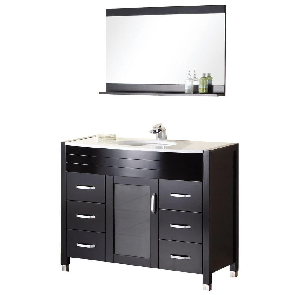 Design Element Cascade 48 in. W x 22 in. D Vanity in Espresso with ...
