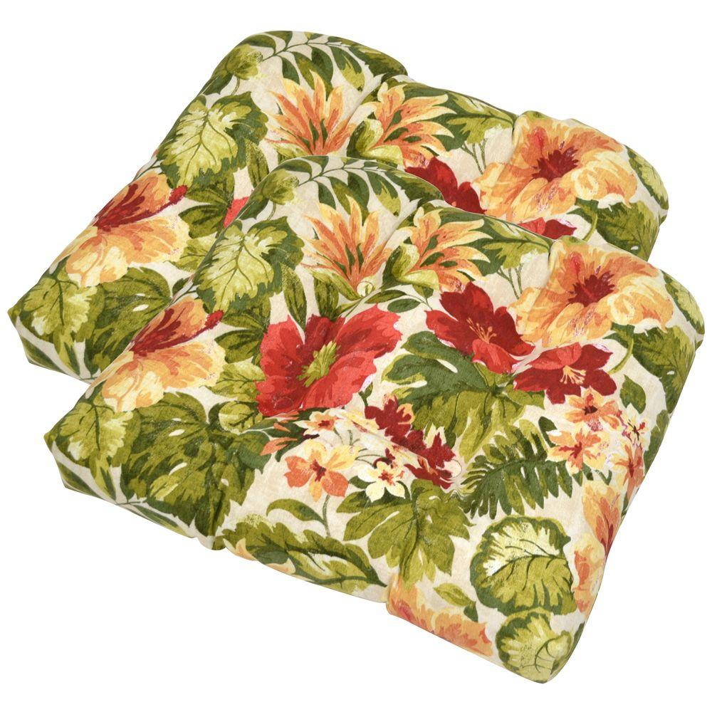 Plantation Patterns Santorini Floral Tufted Outdoor Seat Pad (2-Pack)-DISCONTINUED