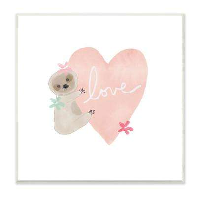 "12 in. x 12 in. ""Pastel Sloth Love Hugging a Pink Heart with Flowers"" by Linda Woods Wood Wall Art"