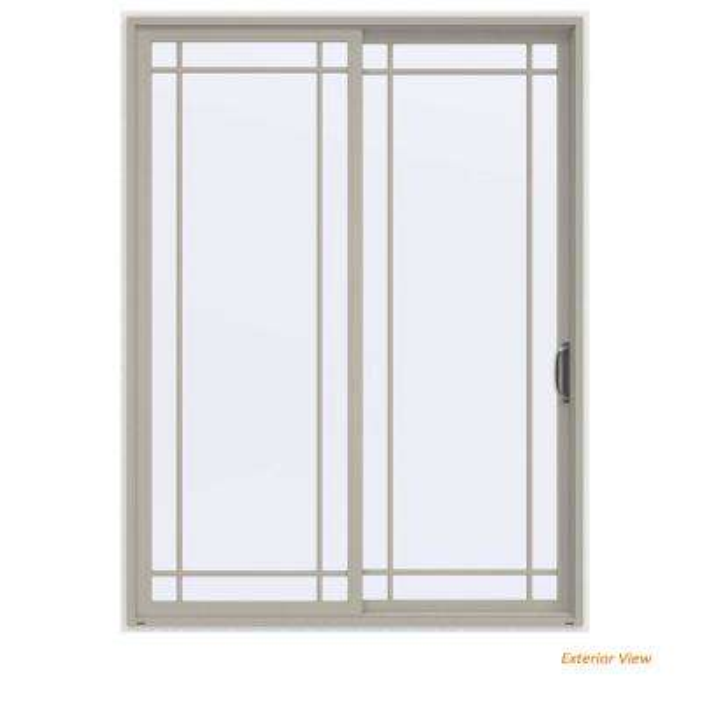 72 in. x 96 in. V-4500 Contemporary Desert Sand Vinyl Right-Hand 9 Lite Sliding Patio Door w/White Interior