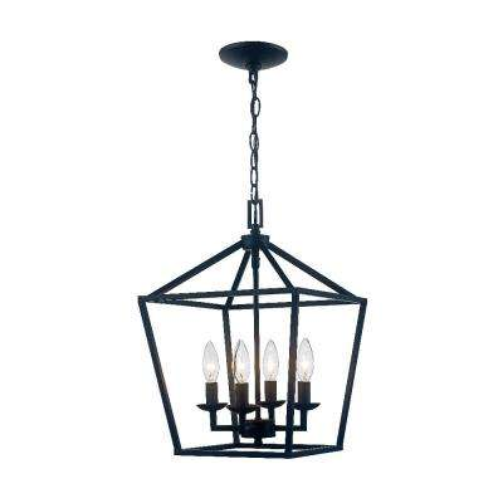 Caged 4-Light Bronze Chandelier
