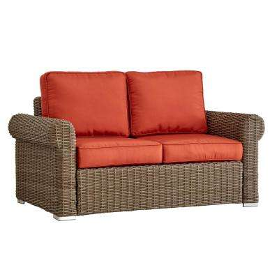Camari Mocha Rolled Arm Wicker Outdoor Loveseat with Red Cushion