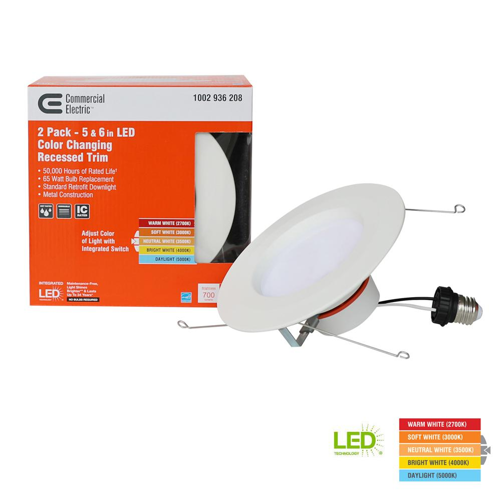 White Integrated LED Recessed Trim Commercial Electric 6 in