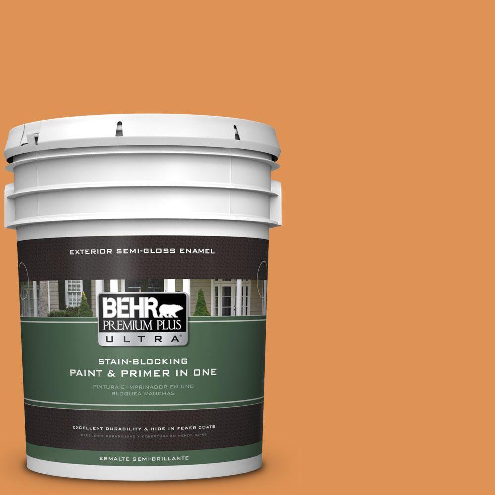 BEHR Premium Plus Ultra 5-gal. #270D-6 Pumpkin Toast Semi-Gloss Enamel Exterior Paint