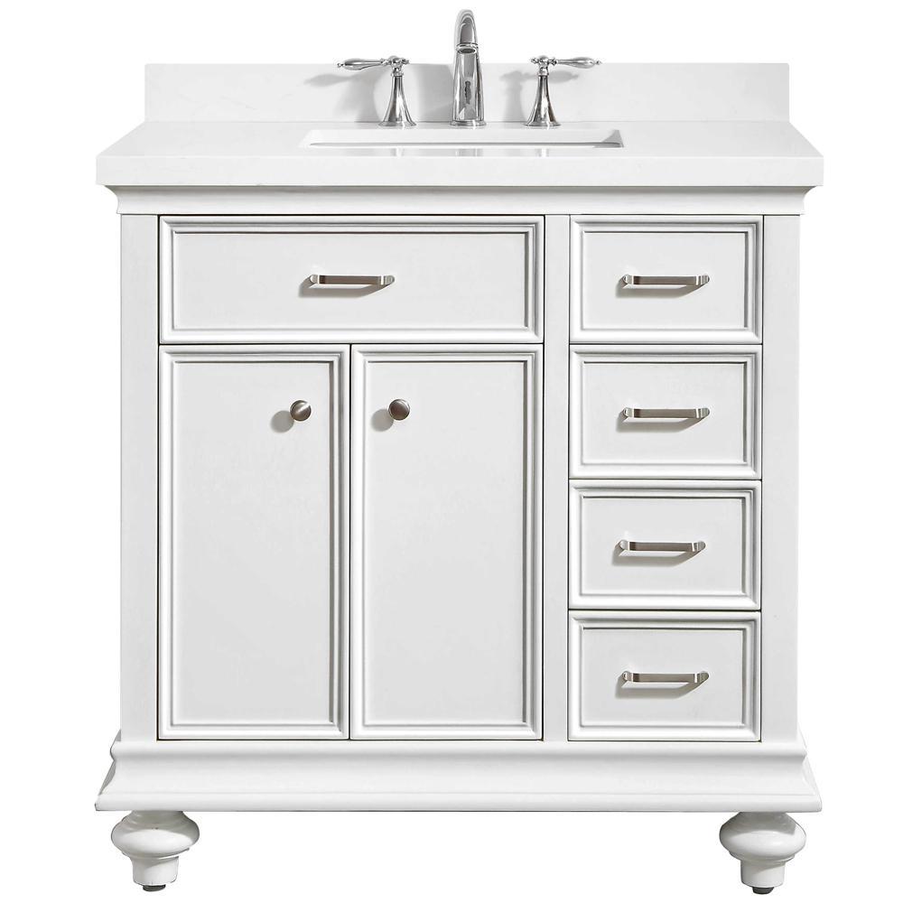 Charlotte 36 in. W x 22 in. D x 36 in. H Vanity in White with Quartz Vanity Top in White with White Basin