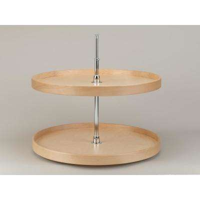 32 in. Natural Wood Full Circle Lazy Susans 2-Shelf