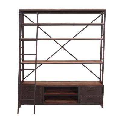 Actaki Sandy Gray Etagere Bookcase with Ladder
