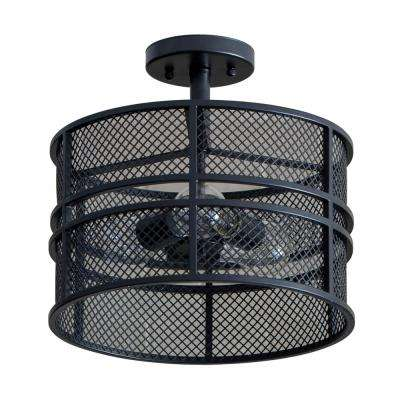 Rixon 3-Light Black Mesh Shade Flushmount
