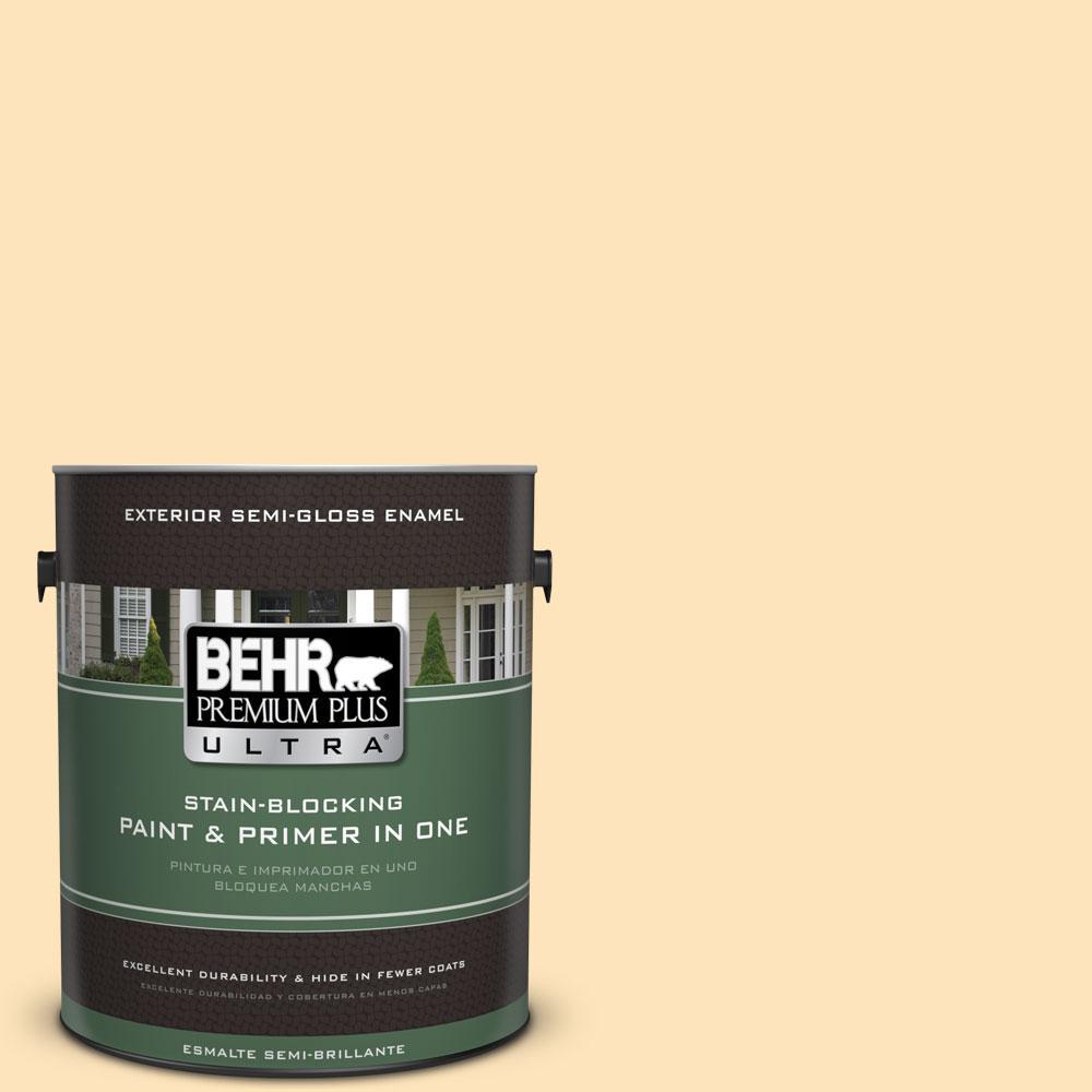 BEHR Premium Plus Ultra 1-gal. #BIC-28 Butter Creme Semi-Gloss Enamel Exterior Paint