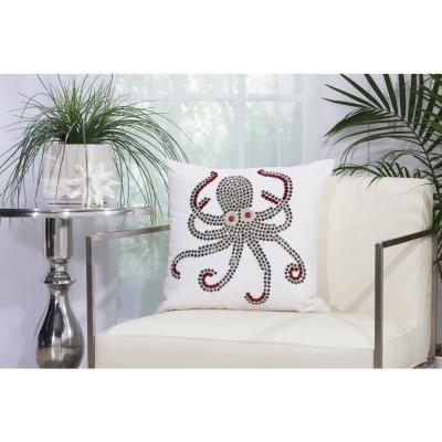 Beaded Octopus White Animal Print Polyester 18 in. x 18 in. Throw Pillow