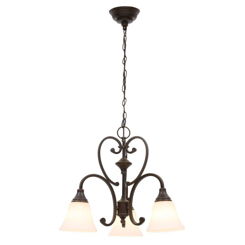 Hampton Bay Somerset 3-Light Bronze Chandelier with Bell Shaped Frosted Glass Shades