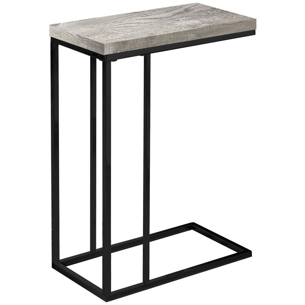 Jasmine 25.25 in. Grey/ Black Metal End Table