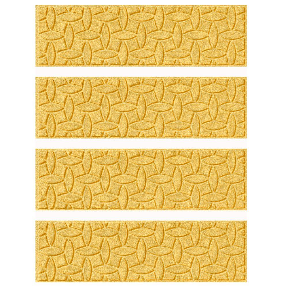 Yellow 8.5 in. x 30 in. Ellipse Stair Tread (Set of 4)