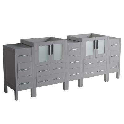 Torino 83.50 in. W Modern Double Bath Vanity Only in Gray with Side and Middle Cabinet
