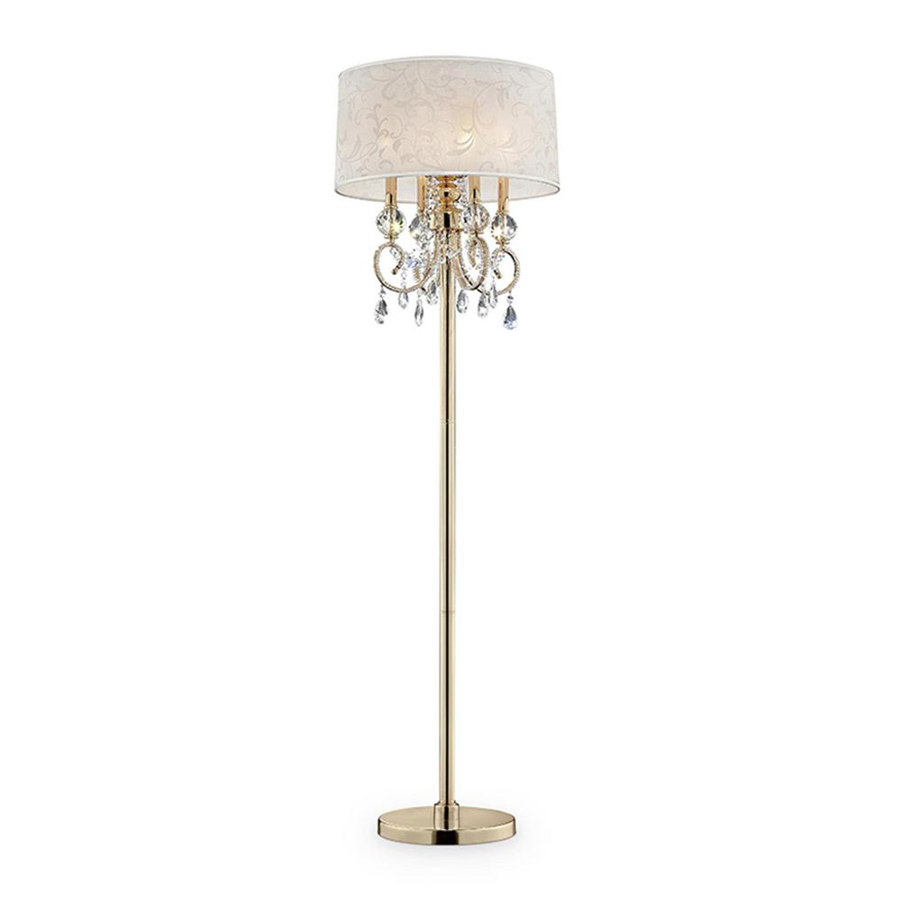 Ore International Aurora 63 In Crystal And Gold Floor Lamp With Barocco Print Linen Shade